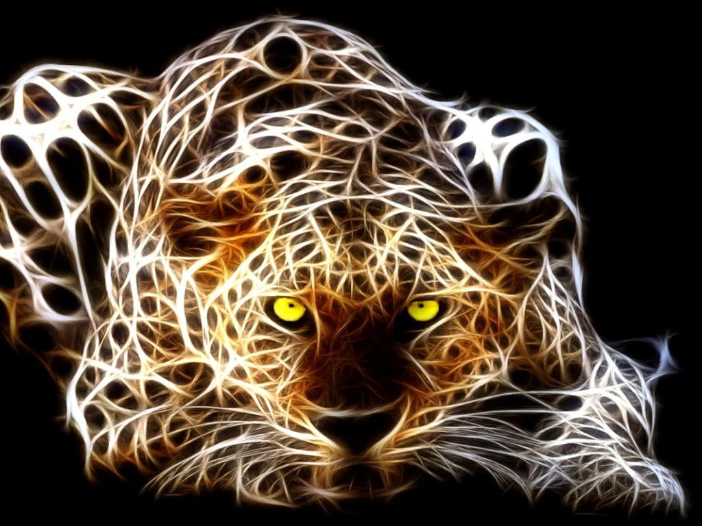 Fractal big cats leopard art two for 3d brown wallpaper