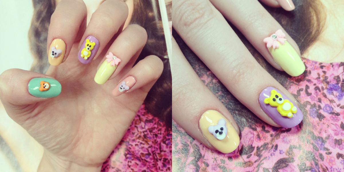 kawaii 3D nail rock teddy bear nail art! | BURKATRON