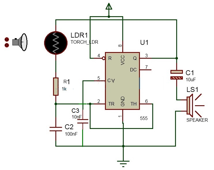 project theory laser based security alarm (using 555 timer with ldrwe call it as laser based security alarm as it is a light activated alarm circuit