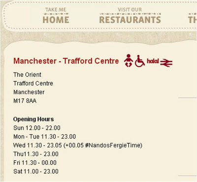 Nandos Fergie Time opening hours nandosfergietime