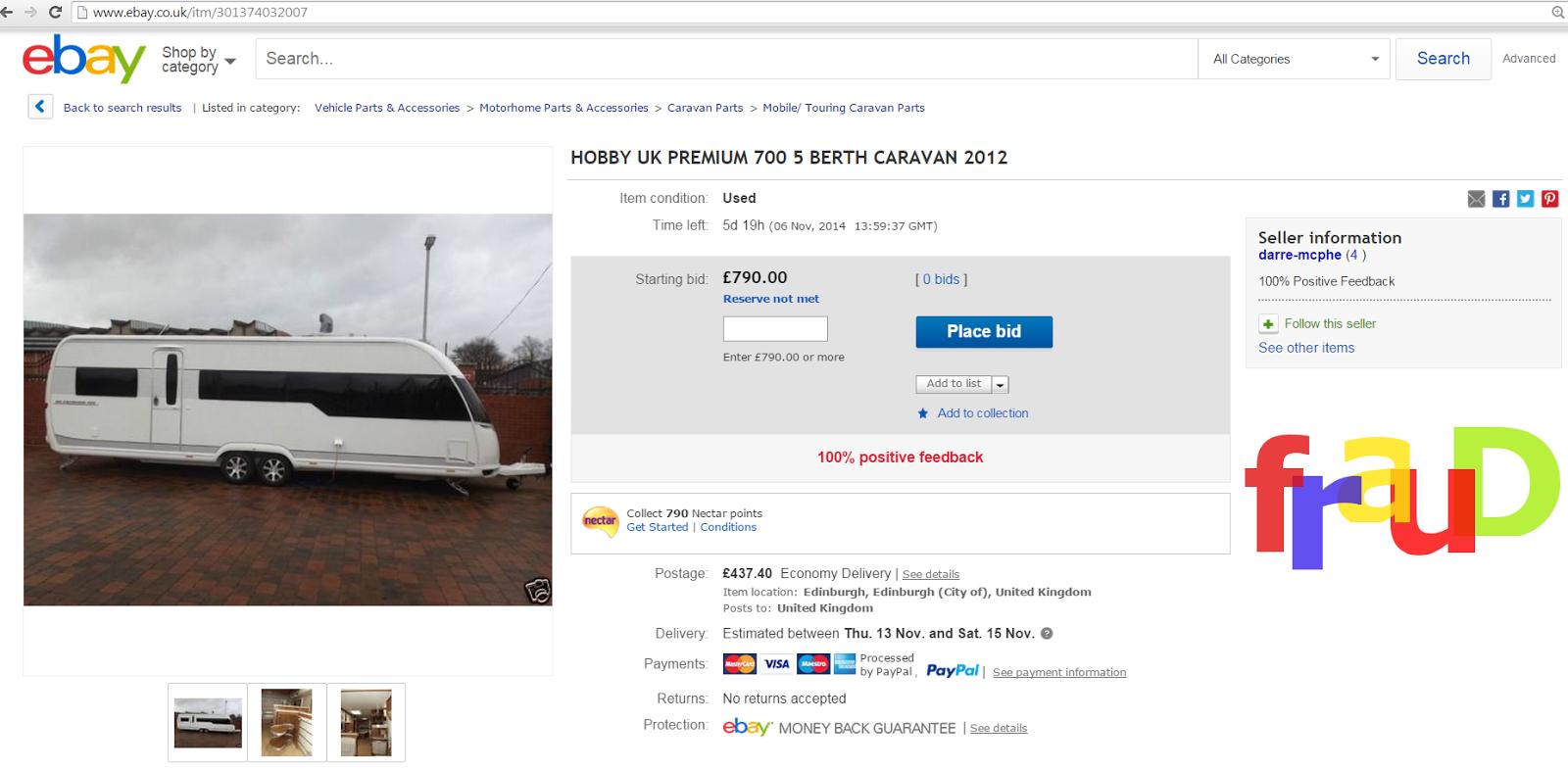 Ebay scams busted on halloween : Caravans motorhomes and campervans ...