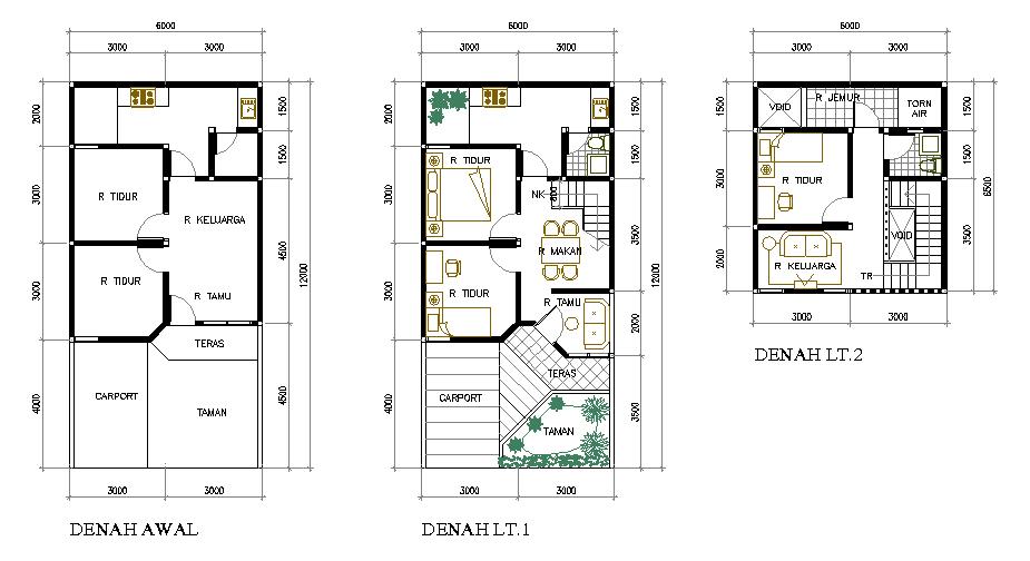 ... contoh, ini adalah gambar denah rumah bertingkat tipe 36 yang baik