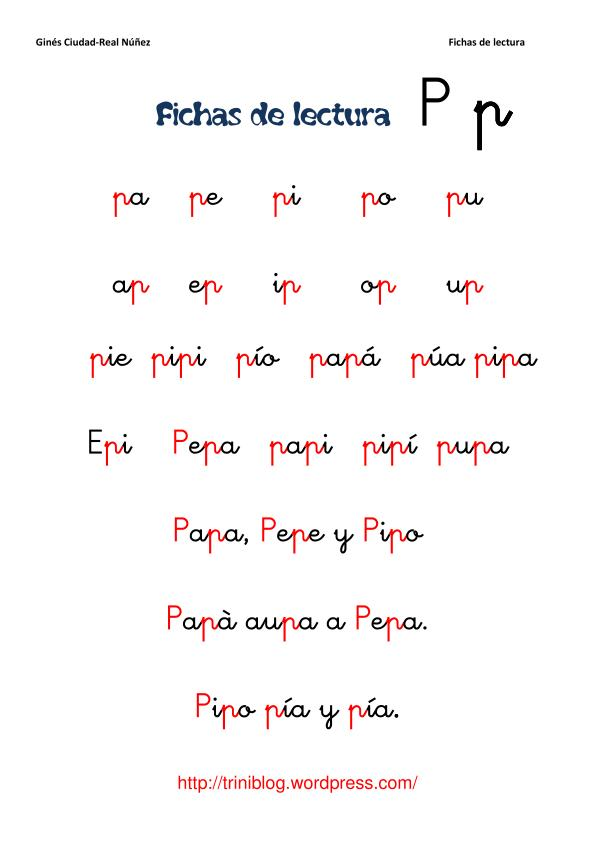 ficha de lectura 4 letra p