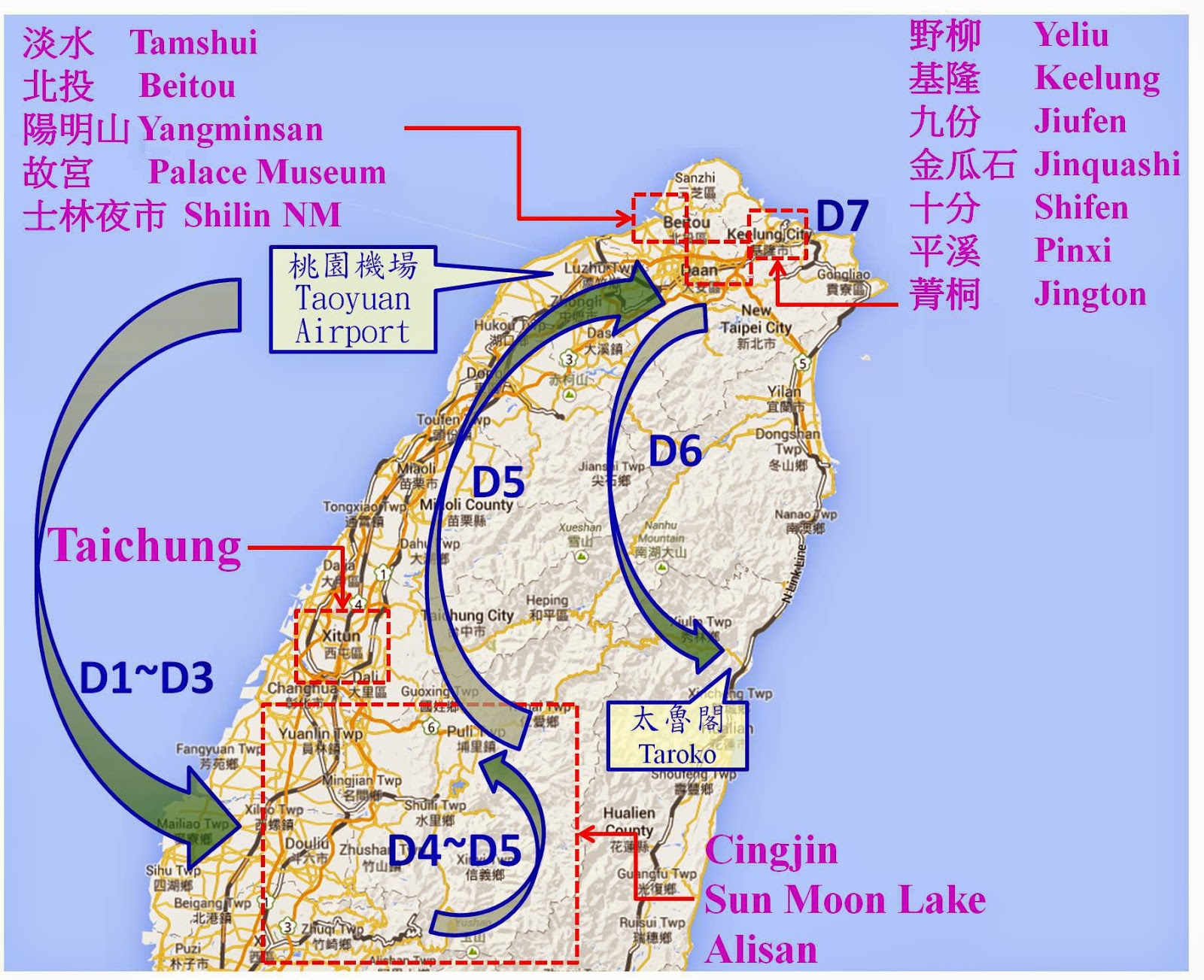 Taiwan itinerary examples travel taiwan 7 day north middle of taiwan itinerary sciox Choice Image