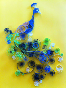 Creative quilled peacock art for greeting cards