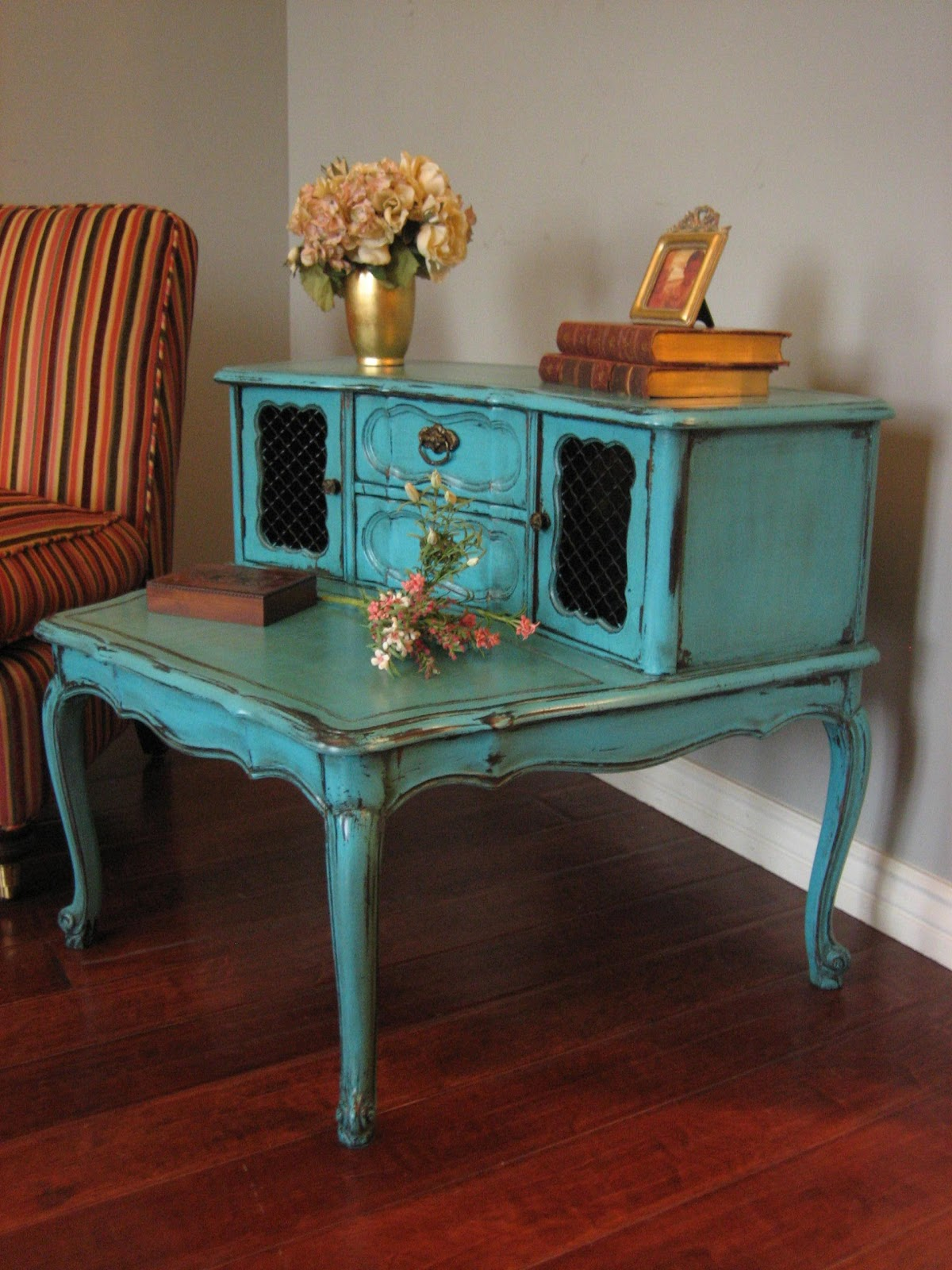 Distressed Turquoise End Tables