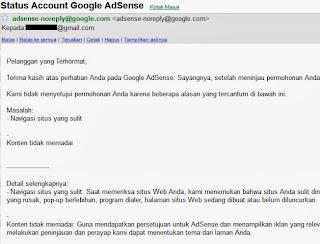 Status Google Adsense yang ditolak