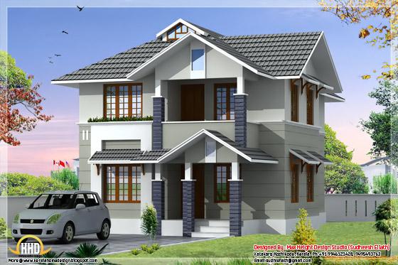 1610 square feet, 3 bhk Kerala style home design