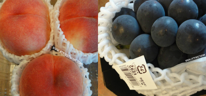 Japanese peach and grapes