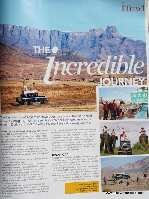 The Incredible Journey - Published in City Press i magazine, 9 September 2012