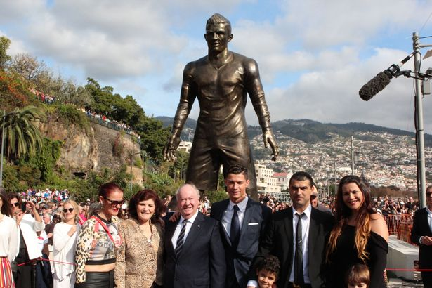 Tribute: The Portugal star attended the unveiling of his statue with friends and family