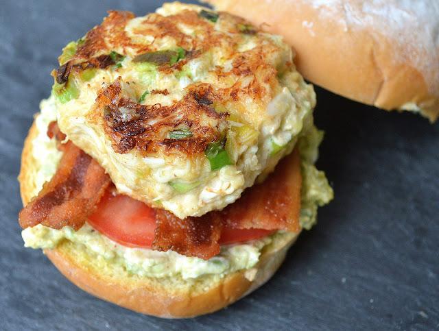 Avocado Crab Cake Sandwiches With Bacon & Spicy Avocado Remoulade
