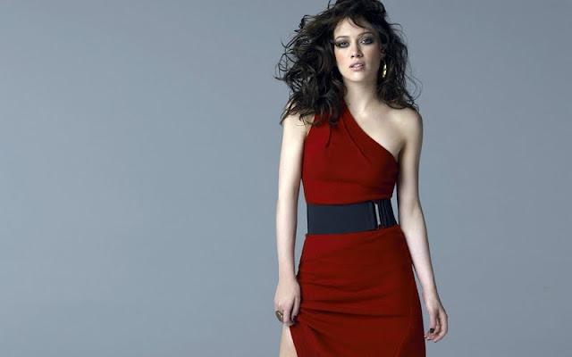Hilary Duff in red dress