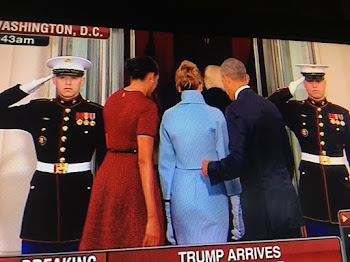 Obamas Greet Trumps