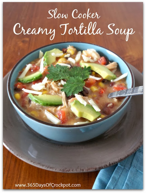 Recipe for Crockpot Creamy Chicken Tortilla Soup.  An EASY recipe using frozen chicken.  #crockpot #slowcooker #soup