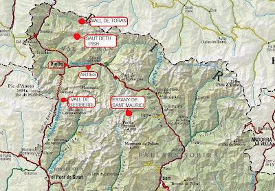 Mapa del Pirineu de Lleida Val d'Aran Vall de Toran Sant Maurici
