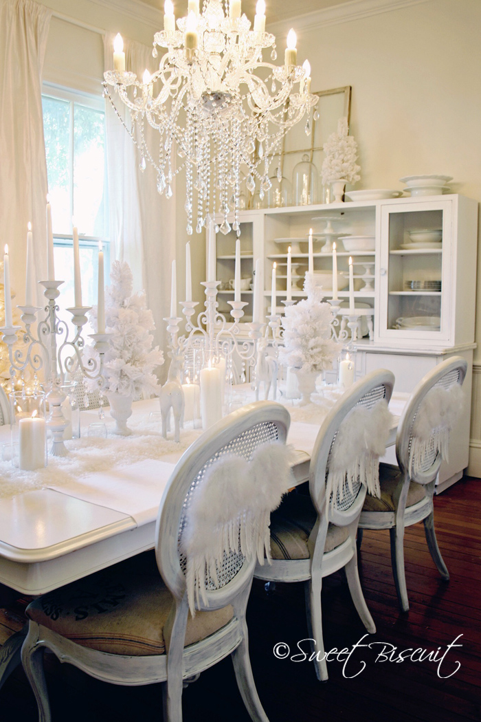 White christmas home tour with sweet biscuit paper and press for All white dining room