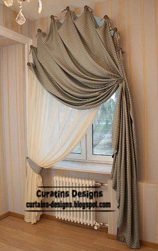 Arched windows curtains on the hooks, Arched windows treatmentes