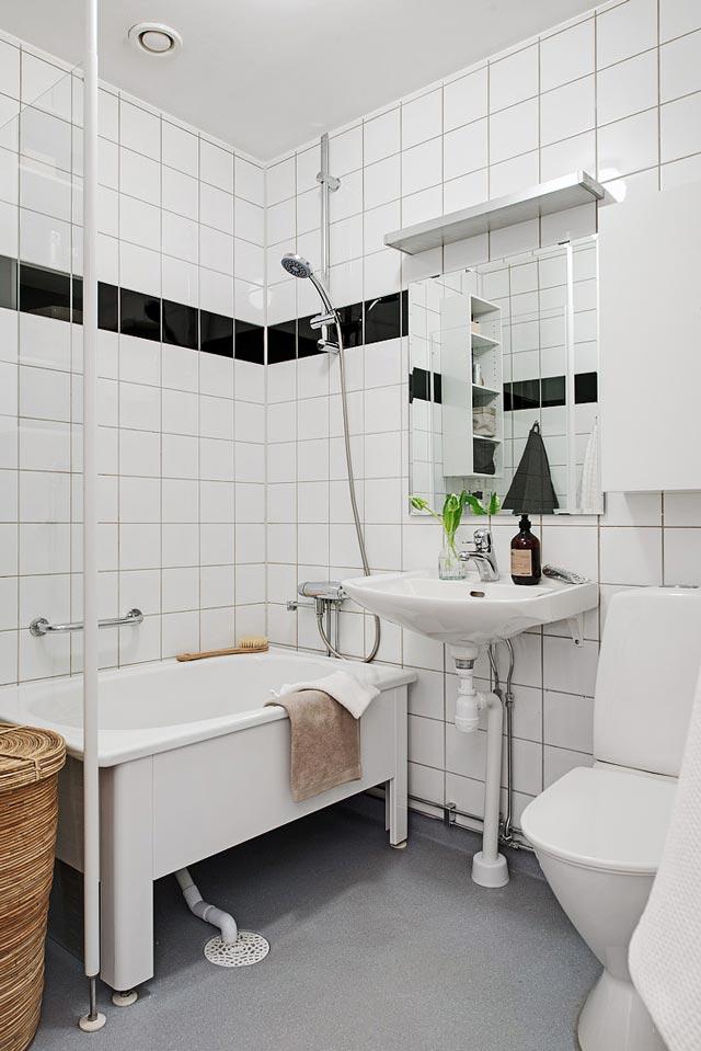 Baño en vivienda de estilo nórdico