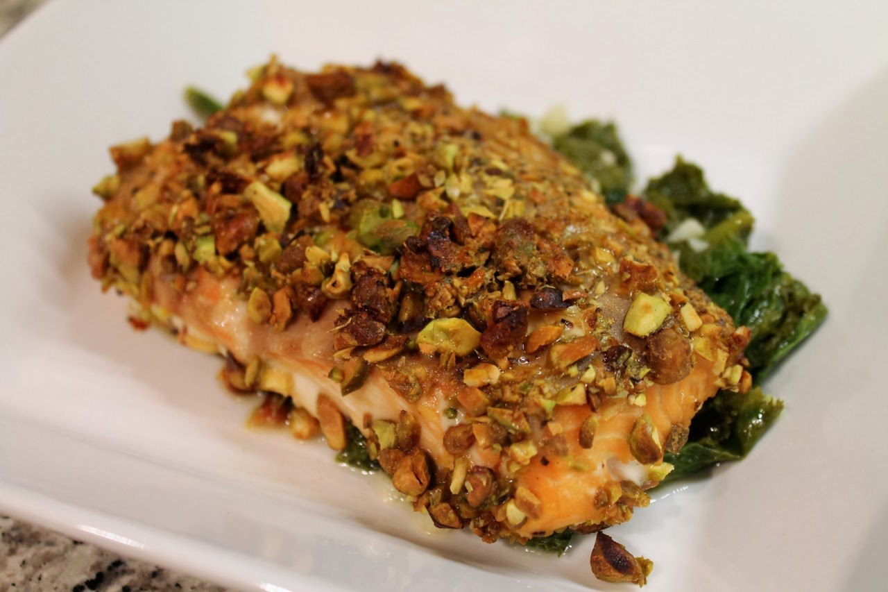 ... Dine Out: Pistachio-Mustard Salmon with Wine-Braised Mustard Greens