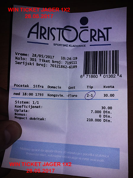 OUR WIN TICKET FOR YESTERDAY / SUNDAY 28.05.2017