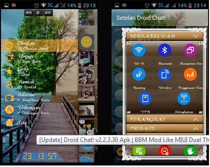 BBM Mod Like MIUI Dual Theme