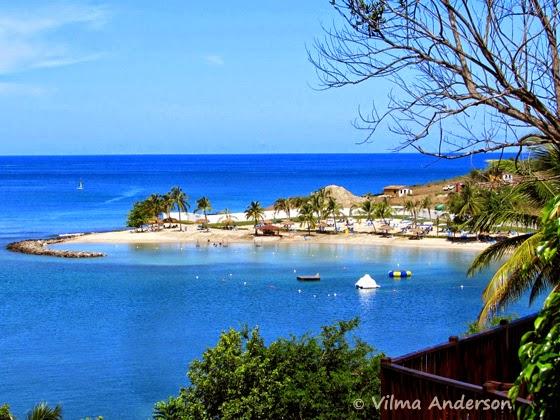 Beach view at Windjammer Landing resort in St. Lucia