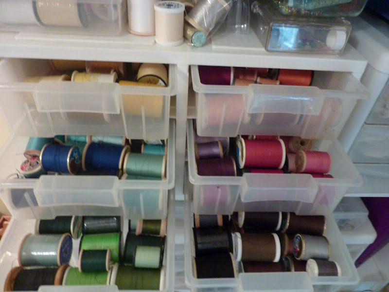 These Drawers Are Kept On A Shelf In A Bookcase Near My Sewing Center. I  Have Them Sorted By Color And This System Has Actually Worked Pretty Well  For Me.