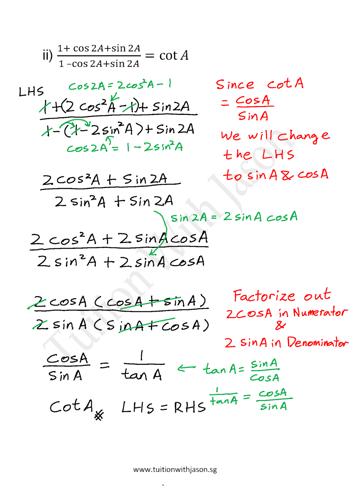 A-Math - Trigonometry - Trigonometric Identities (3)