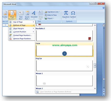 gambar contoh cara mudah membuat nomor halaman (page number) cantik, unik, elegan di Microsoft Word 2007