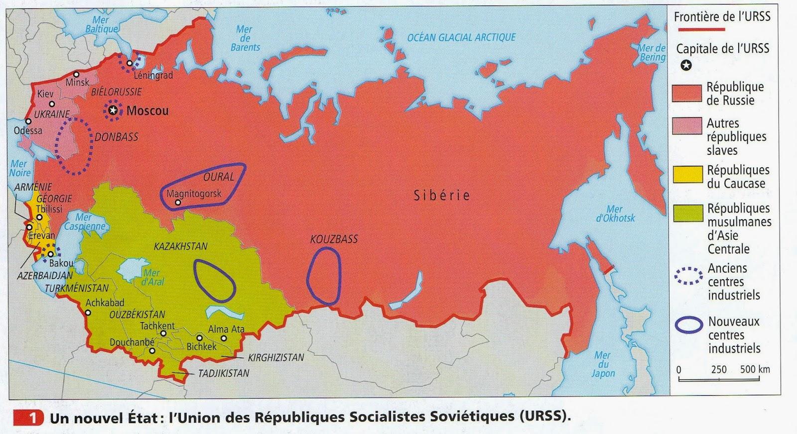Carte Urss.La Salle 208b 3eme Regimes Totalitaires Et Democraties 1919