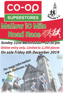 Popular 10 mile race in N Cork - Sun 22nd Mar 2020