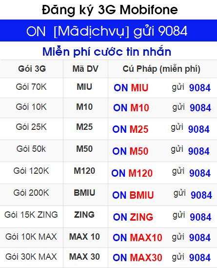 Hướng dẫn đăng ký 3G Mobifone thuê bao trả trước 1