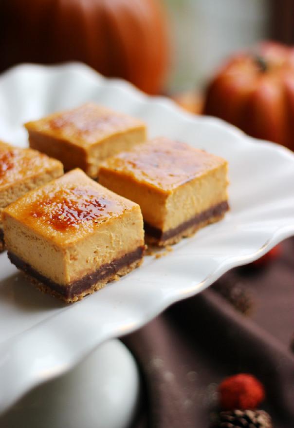... : Chocolate Pumpkin Brulee Cheesecake Bars #Choctoberfest