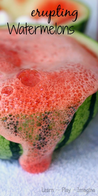 Summer fun with watermelons - vinegar free watermelon eruptions.  These are so simple and pure awesomeness!