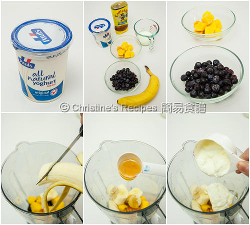 芒果藍莓果泥製作圖 How To Make Mango Blueberry Smoothie