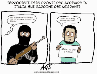 isis, terroristi, migranti, barconi, satira , vignetta