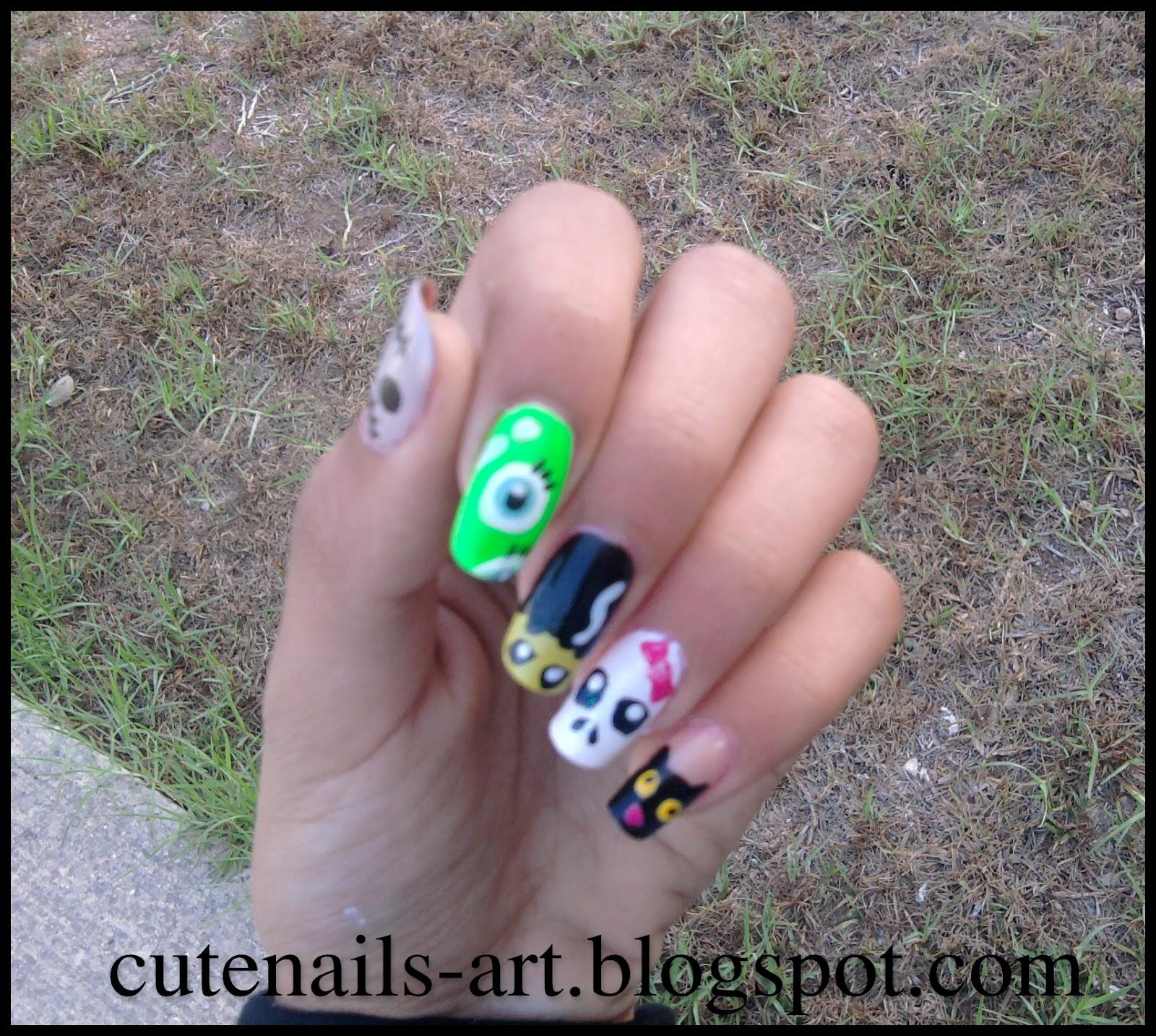 cutenails-art: cute monsters nail art