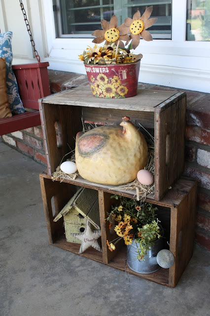 wood boxes, chickens, birdhouse
