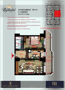 Apartament 2 camere decomandat - 61,11 mp