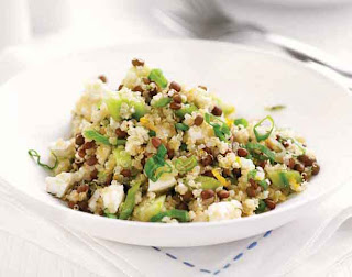 Quinoa, lentil and feta salad