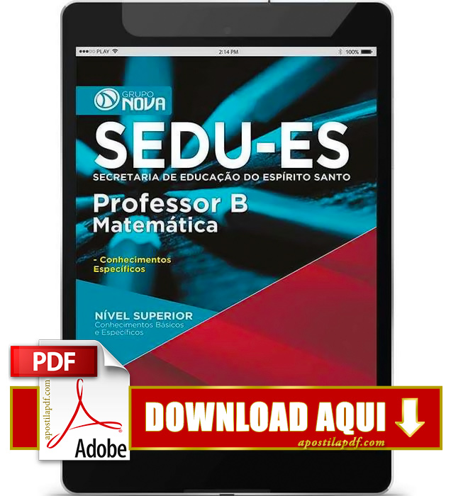Apostila SEDU ES 2015 PDF Download Professor Matemática