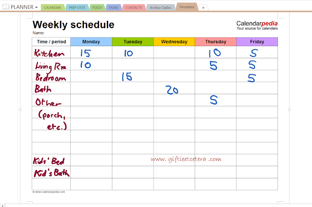 cleaning, weekly