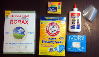 borax glue washing soda ivory soap food coloring