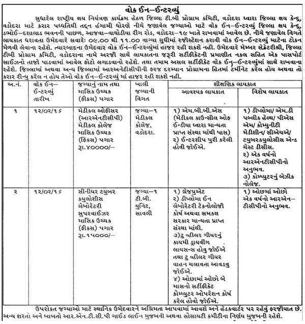 RNTCP Vadodara Medical Officer & Laboratory Supervisor Recruitment 2016