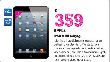 Prezzo offerta volantino Supermedia su Apple iPad Mini