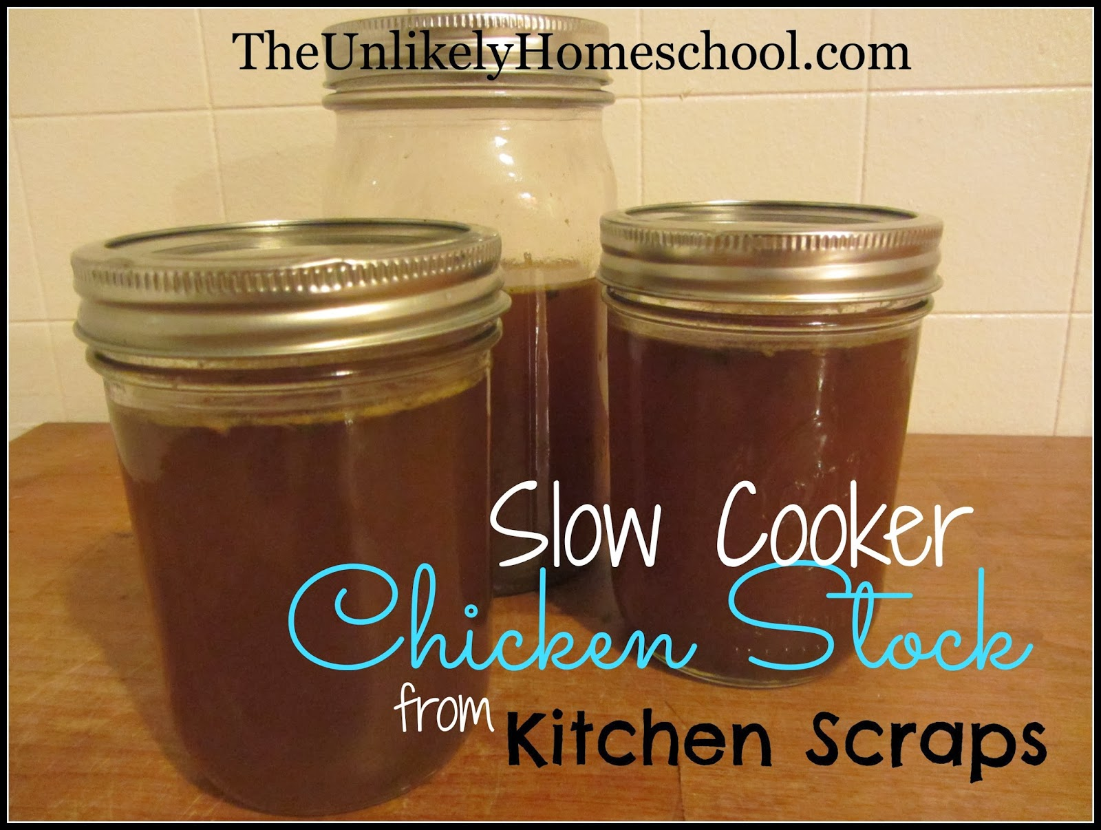 Slow Cooker Chicken Stock from Kitchen Scraps-The Unlikely Homeschool
