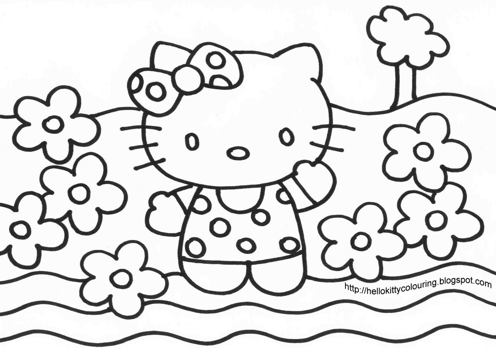 HELLO KITTY AT THE BEACH COLOURING PAGE