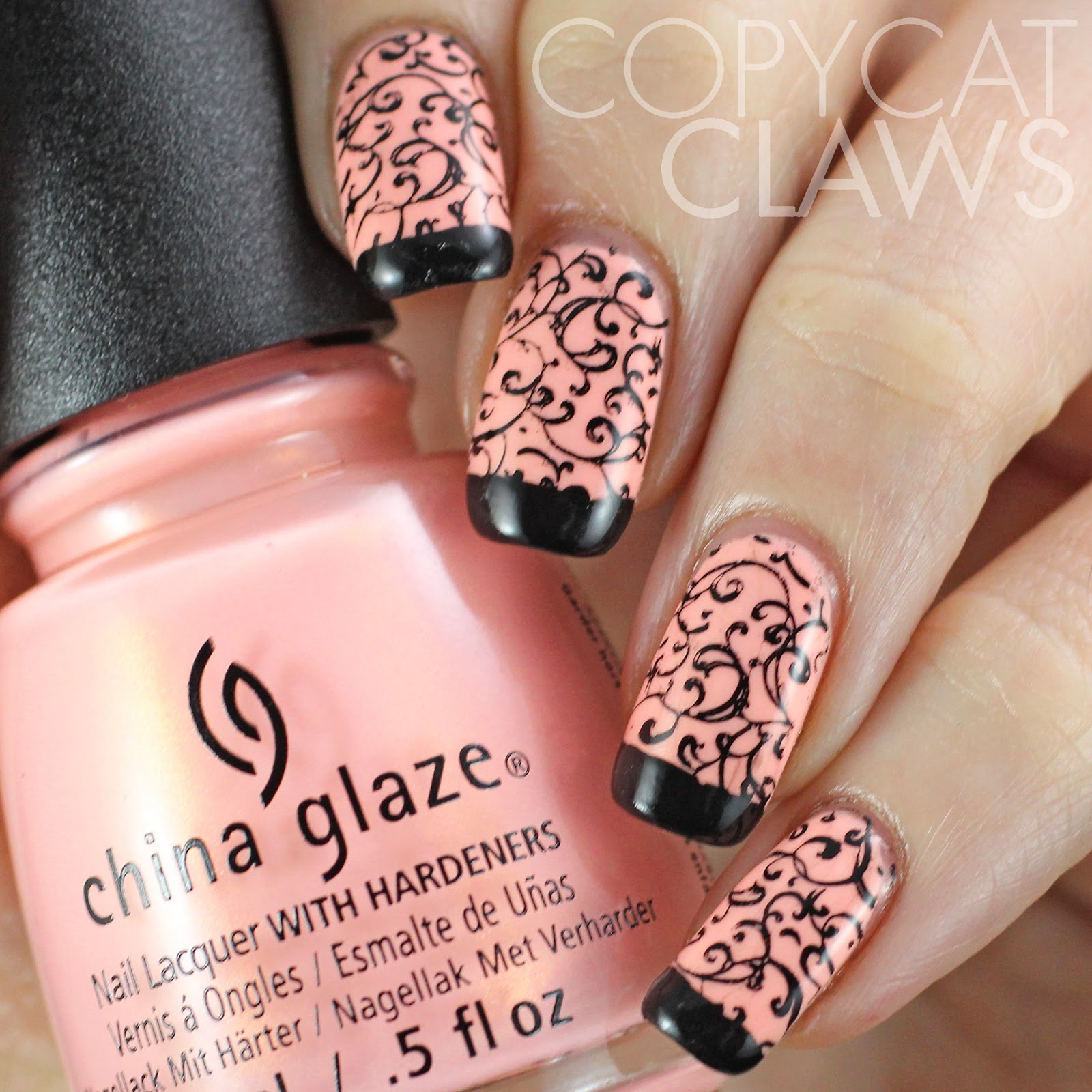 Copycat Claws: Sunday Stamping - Pink and Black Nails