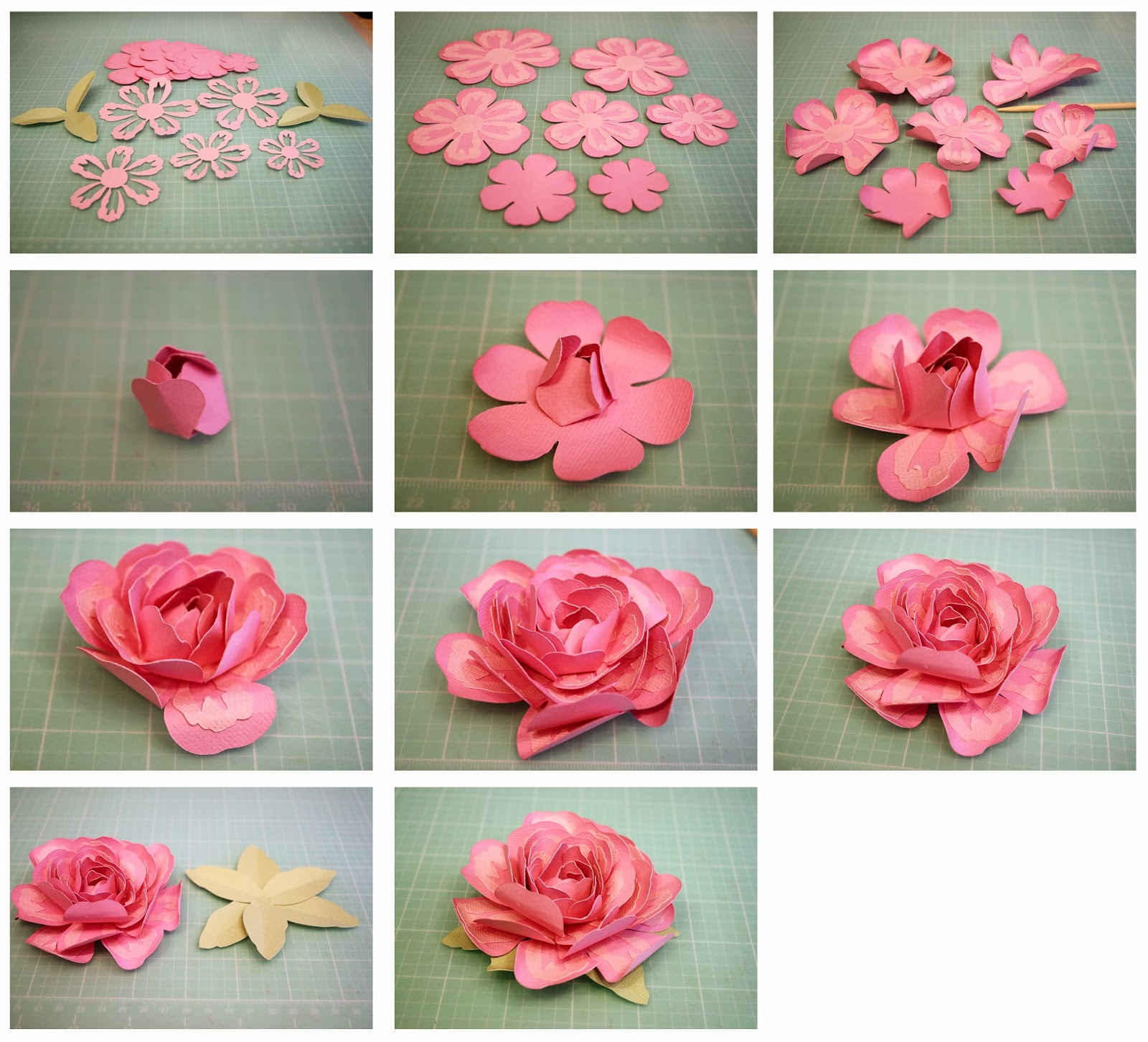 Bits of paper 3d layered rose and penstemon paper flowers cut out all the pieces and pinch the leaves on the score lines ink around the edges of the flower pieces if desired mightylinksfo